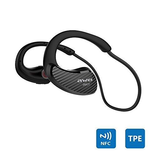 AWEI スポーツ用 Bluetoothイヤホン ワイヤレス イヤホン Bluetooth ヘッドホン ブルートゥース イヤホン【防水規格IPX4 / 調整ネックバンド/簡単&安定接続 マイク付き ハンズフリー通話】(A881BL, ブラック)