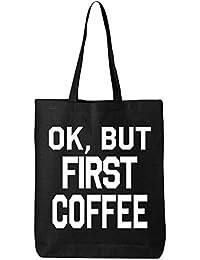 shop4ever OKが、コーヒー最初コットントートバッグ面白い再利用可能なショッピングバッグ6 oz Eco 12 oz ブラック S4E_1215_CoffeeFrst_TB_QTBG_Black_1