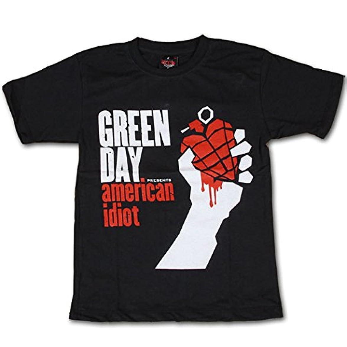 絶えず作る仮定海外製品 グリーンデイ GREEN DAY プリント 半袖 ロック Tシャツ S(150-160cm) ブラック [T271]