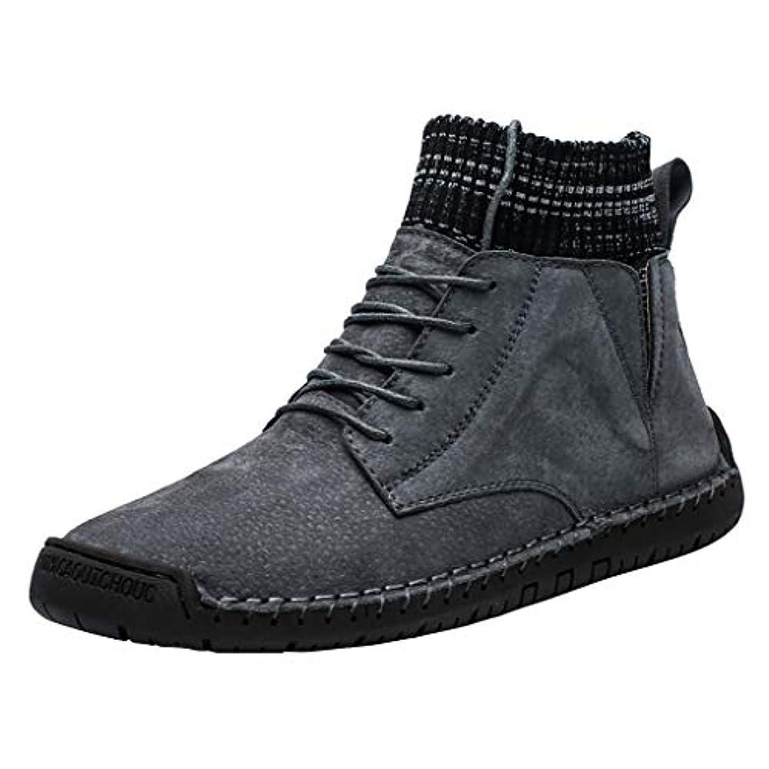 真実追い払うトランペット[Lefthigh] ヴィンテージ コンバットブーツ スエード メンズ カジュアル プラス ベルベット 暖かい ソックス 機関車 工具靴