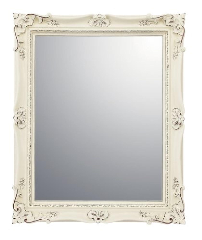 ユーパワー ミラー?鏡 アンティークバニラ W34.5×H42.5×D4cm