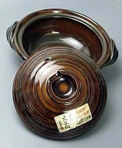 【3方向からの豊富な画像付】日本製 アメ釉 土鍋7号 1-2人用【万古焼】