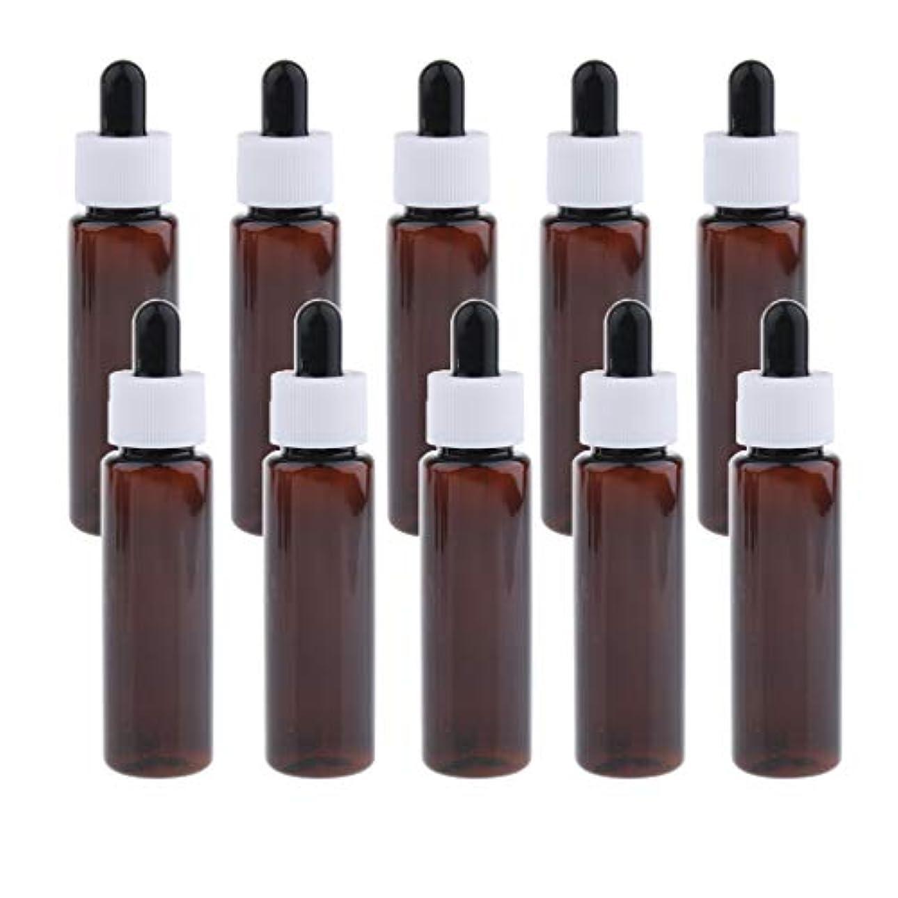 飽和する迷彩焦げ30ml スポイトボトル 香水瓶 詰替え容器 エッセンシャルオイル 全4色 約10個セット - アンバー