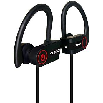 Tiumso Bluetooth スポーツイヤホン 高音質 ブルートゥース イヤホン ランニング用 ノイズキャンセリング 防水 防汗 耳掛け式 iPhone 7/ 7Plus/6 Sony Android スマートフォンなどに対応 (黒)