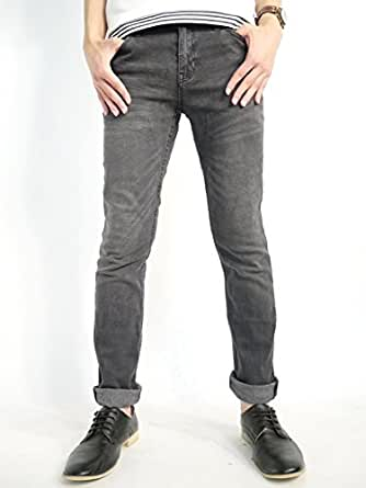 (オークランド) Oakland ヴィンテージ加工 ストレッチ スキニー デニムパンツ ジーンズ ジーパン テーパード パンツ 快適 デザイナーズ 夏 ハードウォッシュブラック XLサイズ