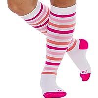 LISH Women's True Stripes Wide Calf Compression Socks - Graduated 15-25 mmHg Knee High Plus Size Support Stockings