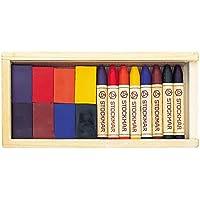 シュットクマー みつろうクレヨン ブロック8色 スティック8色 木箱入 ST32582 [日本正規品]