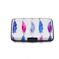 Aluminum Wallet RFID Blocking Case for Women Men, Metal Credit Card Holder Hard Case (Feather)