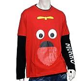 (ガチャピン×ムック) GACHAPIN×MUKKUメンズガチャピン長袖TシャツPP9300 M レッド [ウェア&シューズ]