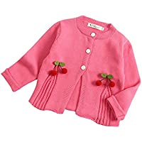ALLAIBB Newborn Baby Girls Knit Jacket Sweater Cardigan Cherry Outerwear Outfit Size 100 (red)
