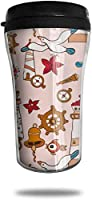 シーガルフィッシュポータブルトラベルマグコーヒーカップふた付きアイスドリンク&ホット飲料再利用可能、8オンス