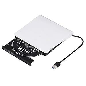 外付けDVDドライブ DVD プレイヤー ポータブルドライブ CD/DVD読取・書込 DVD±RW CD-RW USB3.0/2.0 Window/Mac OS両対応 高速 静音 超スリム 流線型 ホワイト