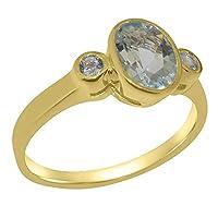 英国製(イギリス製) K10 イエローゴールド 天然 アクアマリン レディース3石 トリロジー リング 指輪 各種 サイズ あり