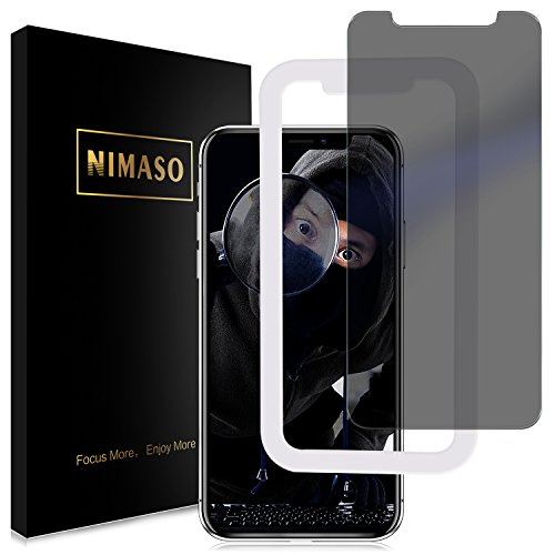 Nimaso iPhone X 用 強化ガラス液晶保護フィルム 【覗き見防止】ガイド枠付き/3D Touch対応/業界最高硬度9H/透過率99.9% ( iPhone X 用)