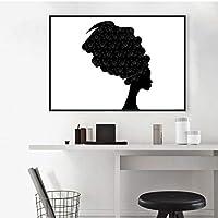 アフリカの美しい黒人女性の肖像キャンバスアートポスタープリント伝統的なケンテヘッドラップ絵画アフロ壁-60x90cmx1 /なしフレーム