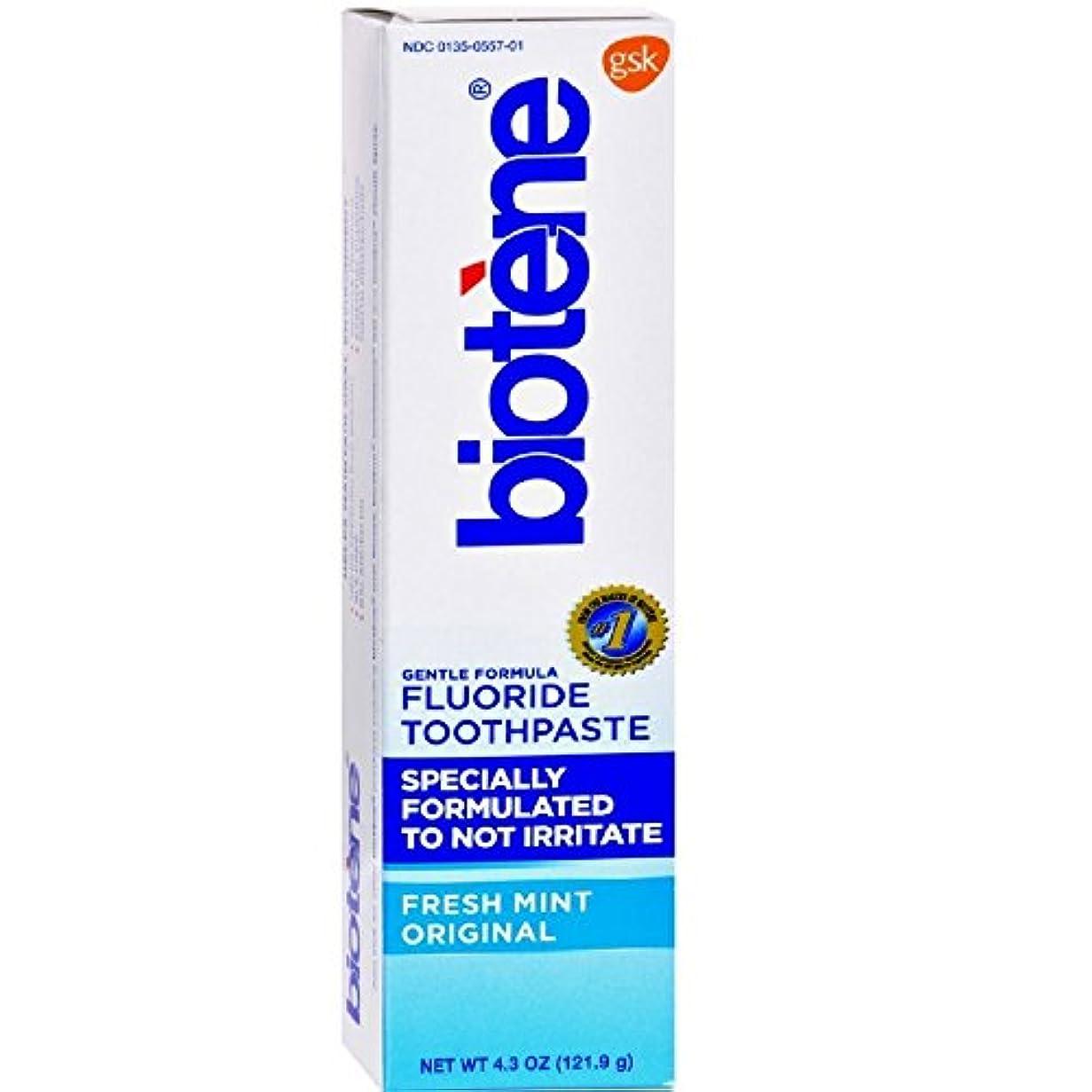 ボウル取り付け海峡Biotène Bioteneジェントル式フッ化物の歯磨き粉、フレッシュミント4.3オズ(12パック) 12のパック