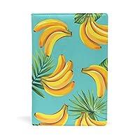 旅立の店 ブックカバー レザー 文庫カバー フリーサイズ バナナ柄 フルーツ 可愛い 上品 おしゃれ 本好きなあなたに 学生 22x15cm