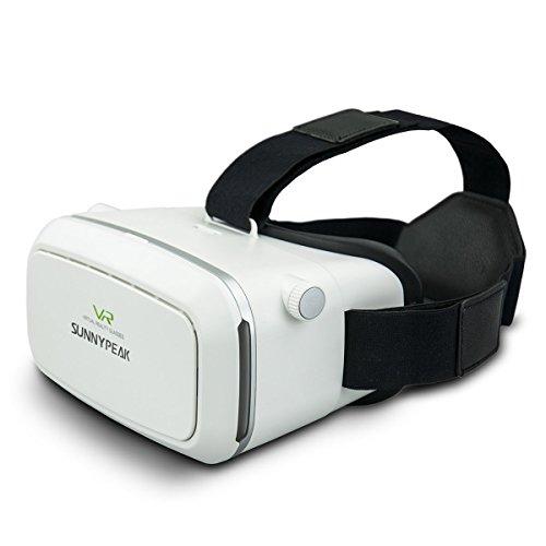 SUNNYPEAK VR 3D ヘッドマウントディスプレイ iPhone 6 Plus/6 Samsung Note 4/3 LG Nexus 6 with QR Code ホワイト[並行輸入]