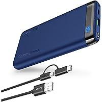 Omars USBC モバイルバッテリー10000mAh Power Delivery 対応 Quick Charge 3.0 対応 パソコン 充電 バッテリー(USB-Cケーブル付) MacBook/ノートパソコン/iPhone/iPad/Android/Nintendo Switchなど対応可能 (インクブルー)