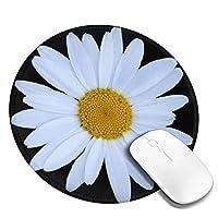 マウスパッド丸型 柔軟 ゴム製裏面 ゲーミングマウスパッド PC ノートパソコン オフィス用 円形 デスクマット 滑り止 ホワイトデイジー2