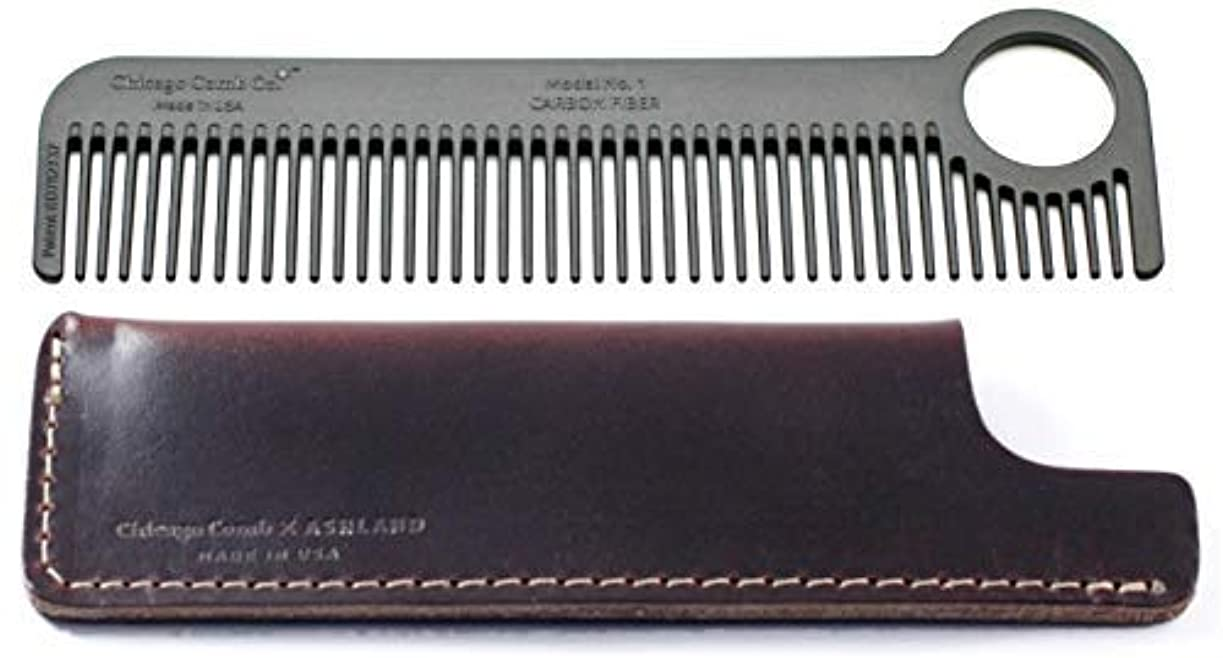 そう代名詞大砲Chicago Comb Model 1 Carbon Fiber Comb + Mahogany Brown Horween leather sheath, Made in USA, ultimate pocket &...