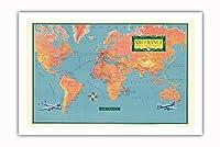 世界地図 - Vickers Viscount中距離ターボプロップ航空機 - ビンテージな航空会社のポスター c.1956 - プレミアム290gsmジークレーアートプリント - 61cm x 91cm