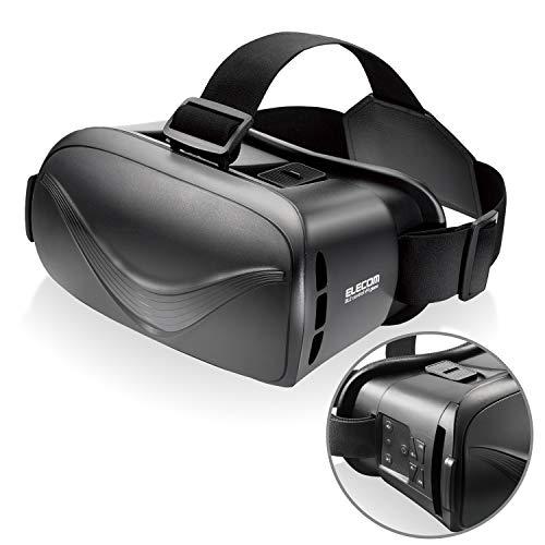 エレコム VRゴーグル VRグラス [デュアルレンズ採用でVR酔いを軽減] Bluetoothコントローラー一体型 ブラック P-VRGBT01BK