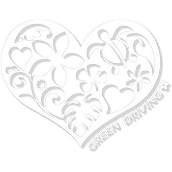nc-smile ハワイアン ハート ステッカー GREEN DRIVING エコドライブ HEART (ホワイト)