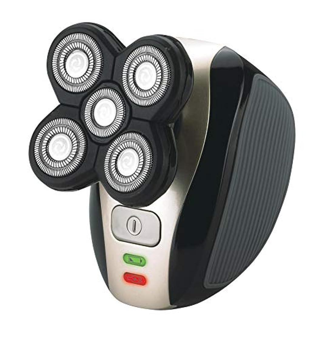 メンズ4D電気シェーバー、 5 in 1 洗えると充電式 ヘッドシェーバーひげトリマーウェットドライロータリーシェーバー鼻毛ひげトリマークリッパーフェイシャルクレンジングブラシ (シェーバーのみ)