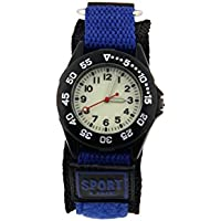 ELEOPTION Luminous Military Wrist Watch Analog Quartz Beige Dial With Fabric Canvas Band for Teenager Unisex Adult Boys Girls Student (Small, Benzo Blue)