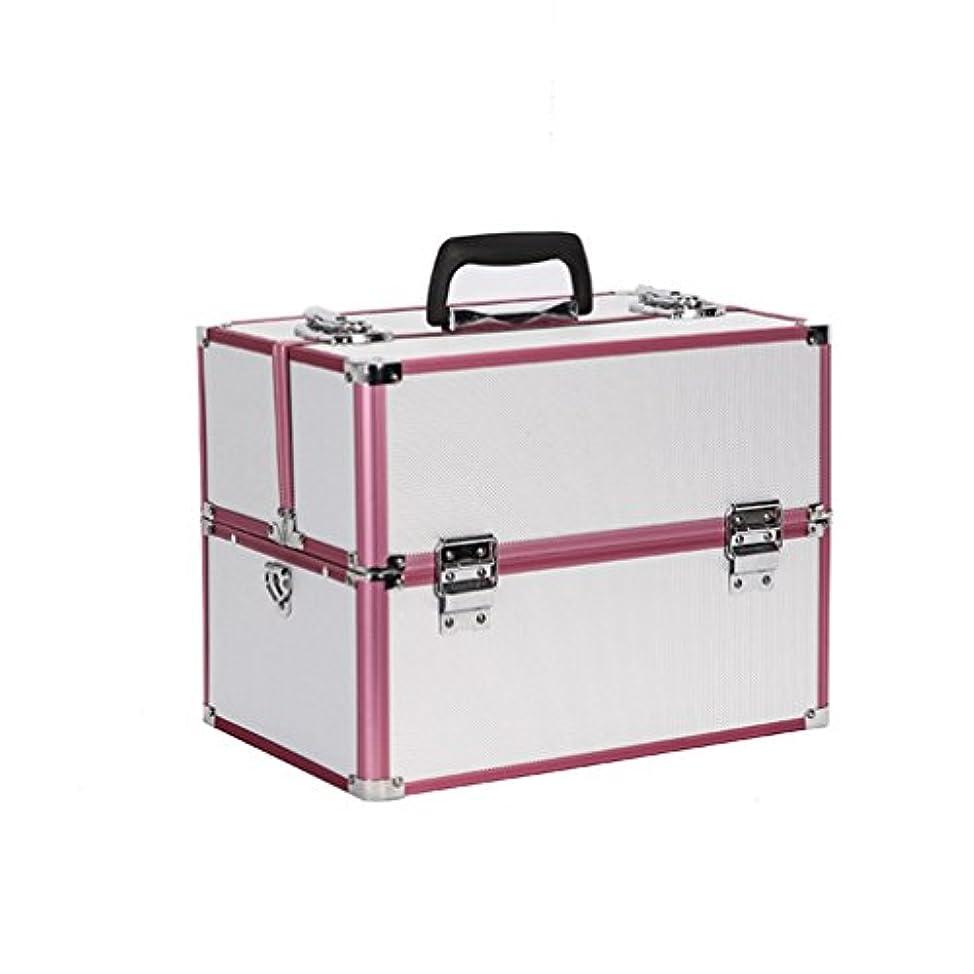 {ツネユウ}プロ用 メイクボックス 高品質 多機能 大容量 メイクブラシバッグ 収納ケース ネイルボックス 化粧 取っ手付 バニティボックス 化粧道具 小物入れ ブラック ピンク