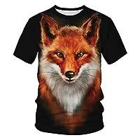 3Dデジタル印刷Tシャツファッションタイガーフォックス猫柄ラウンドネックの服で快適&丈夫なユニセックス,Fox,L