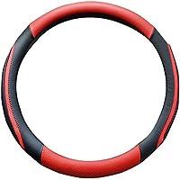 Super PDRステアリングカバー 自動車用品 カーグッズ 通気性良い 四季用 PUレザーハンドルカバー Mサイズ ブラック+レッド
