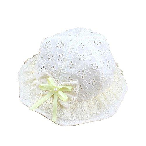 (よキーよ)Yokeeyoベビー用ハット つば広 ちょう結び 韓国風 刺繍 可愛い フィッシャーマンハット 赤ちゃんキャップ アウトドアハット 軽いキッズ帽子 子供サンバイザー 人気 女の子 紫外線 UVカット 日よけ止め 日焼け防止