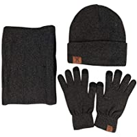 JOYEBUY Men 3 PCS Knitted Set Winter Warm Knit Hat + Scarf + Touch Screen Gloves