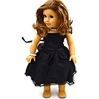 Youtop Black Silky Satin Gown Long Dress with Waist Band Fits 18 American Girl Dolls by Youtop