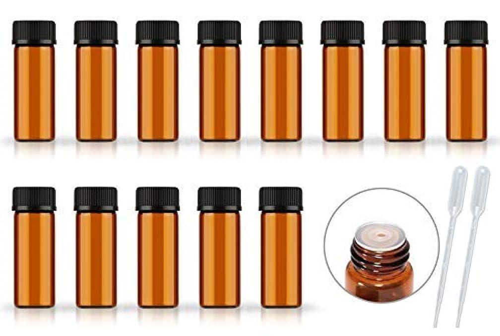 権限自信があるメロディアス50Pack Set 1ML 2ML 5ML Amber Glass Bottle with Orifice Reducer and Cap Small Essential Oil Vials (5ML) [並行輸入品]