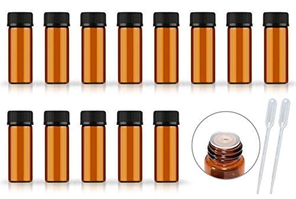 プラスチック気分が悪い純粋に50Pack Set 1ML 2ML 5ML Amber Glass Bottle with Orifice Reducer and Cap Small Essential Oil Vials (5ML) [並行輸入品]