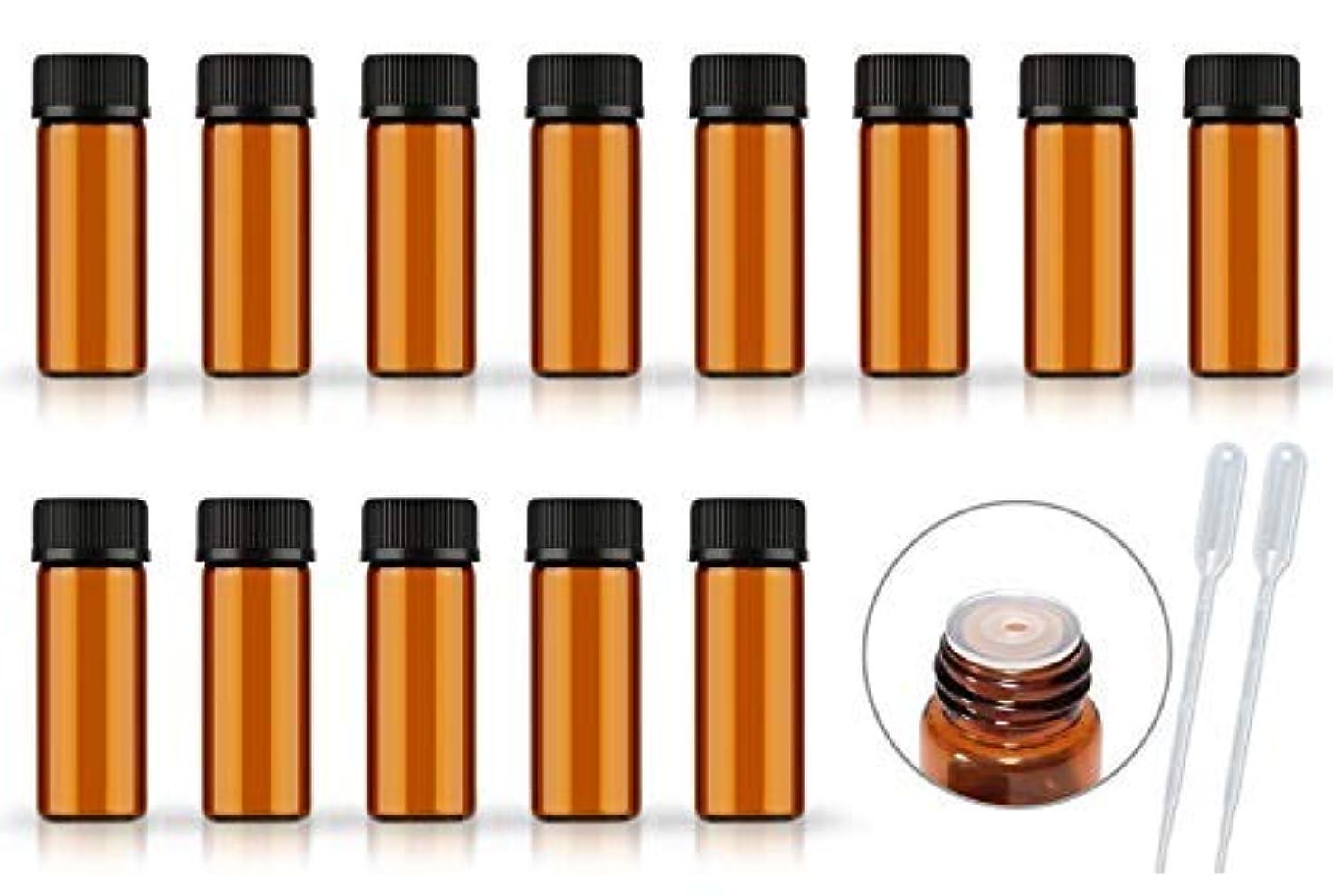 文言バンド前売50Pack Set 1ML 2ML 5ML Amber Glass Bottle with Orifice Reducer and Cap Small Essential Oil Vials (5ML) [並行輸入品]