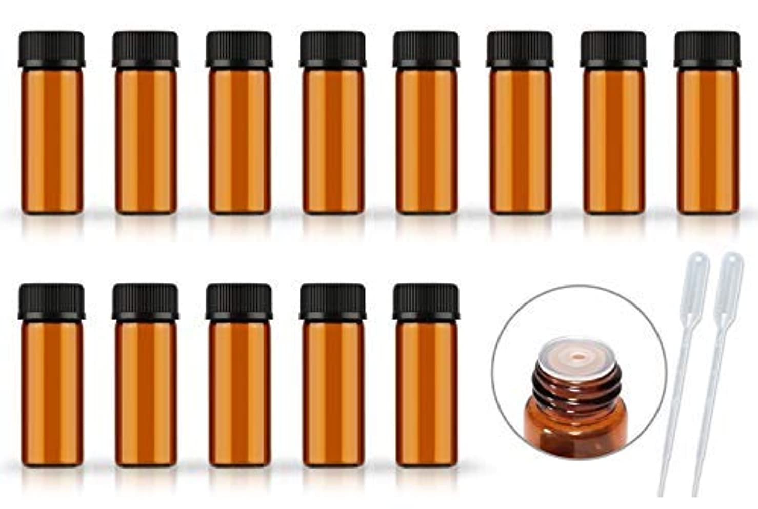50Pack Set 1ML 2ML 5ML Amber Glass Bottle with Orifice Reducer and Cap Small Essential Oil Vials (5ML) [並行輸入品]