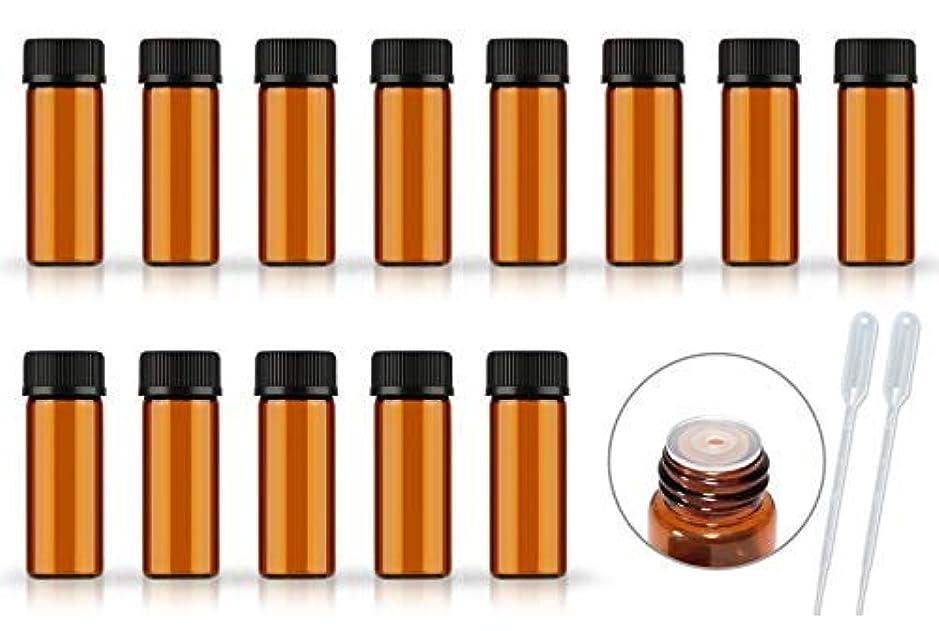 資産バドミントンプーノ50Pack Set 1ML 2ML 5ML Amber Glass Bottle with Orifice Reducer and Cap Small Essential Oil Vials (5ML) [並行輸入品]