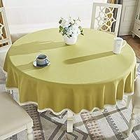 綿 レース テーブル クロス, ライン ソフト 単色 テーブル カバー 厚く 洗える 表布カバー キッチン ダイニングの卓上-B 直径200cm