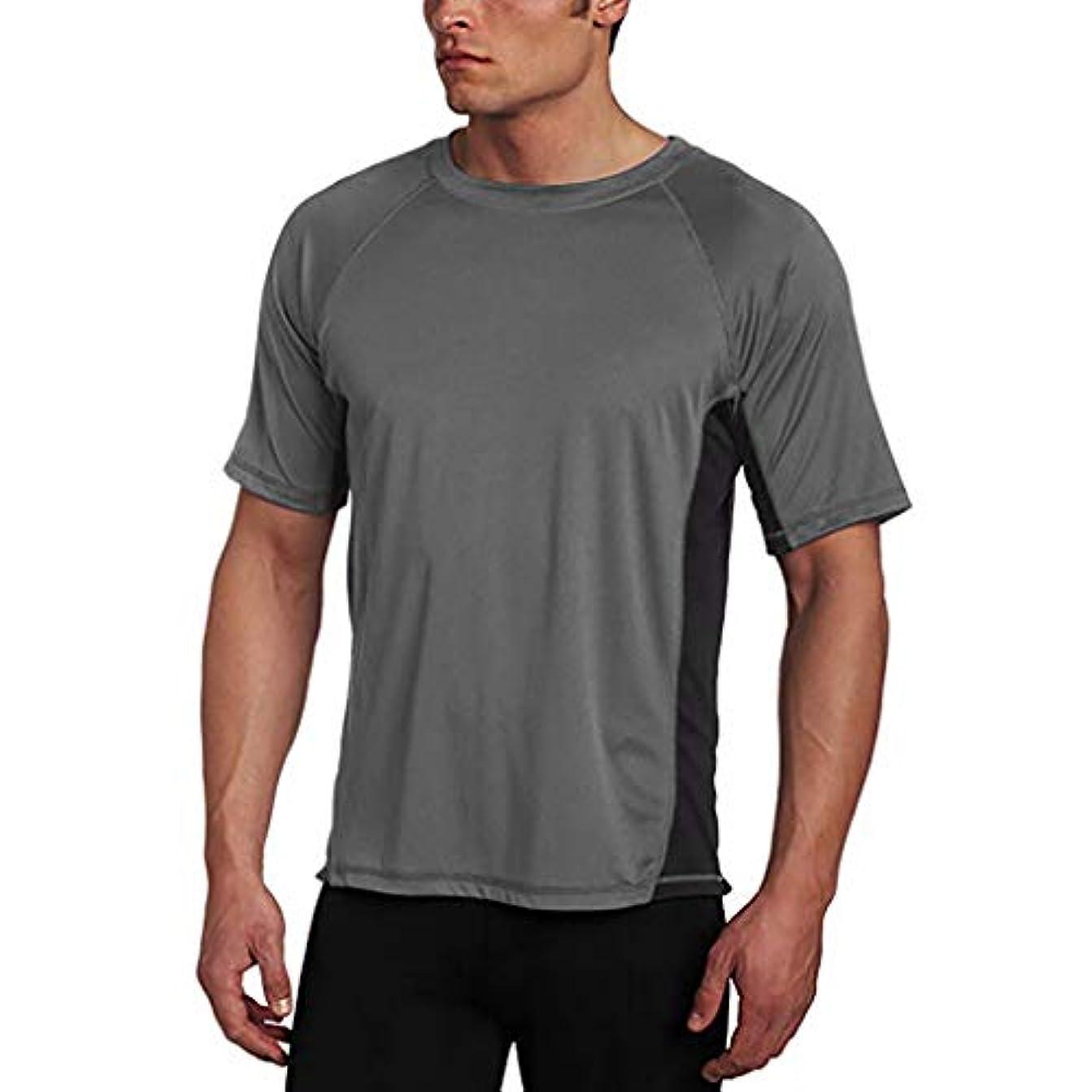 抜粋ハード構造メンズ シャツ Rexzo 純色 スプライス スポーツシャツ シンプル 機能性 Tシャツ 通気性いい 柔らかい スウェットシャツ 上質 着心地良い トレーニングウェア フィットネス 活動性が良い シャツ 大きいサイズ 日常...