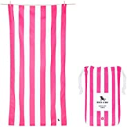 Compact Beach Towel for Kids - and Adults, Travellers, Swimmers - Phi Phi Pink, Large (160x80cm, 63x31) - Ligh