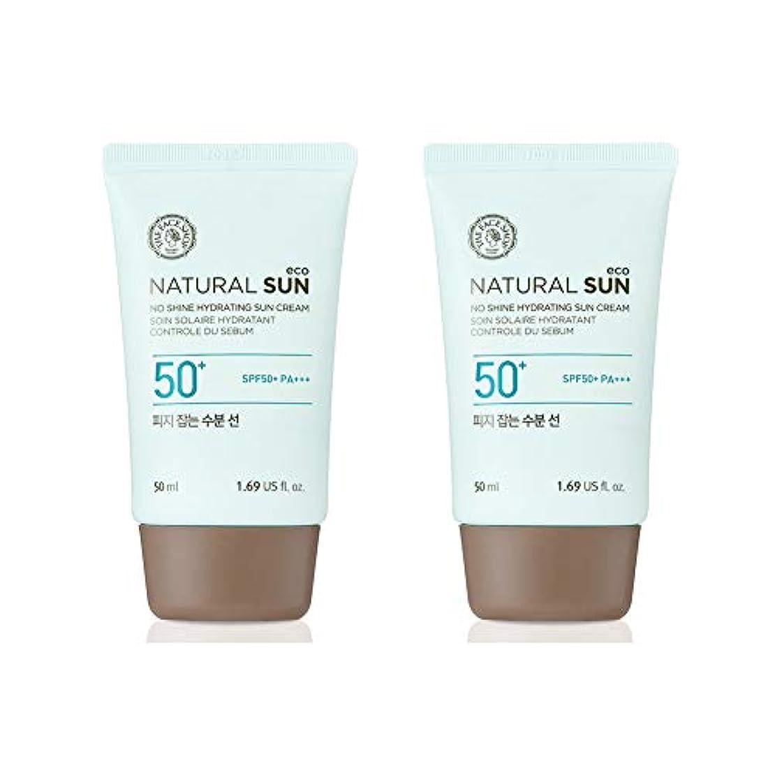 どこでも小さいイーウェルザ?フェイスショップネチュロルソンエコフィジーサン?クリームSPF50+PA+++50ml x 2本セット韓国コスメ、The Face Shop Natural Sun Eco No Shine Hydrating Sun...
