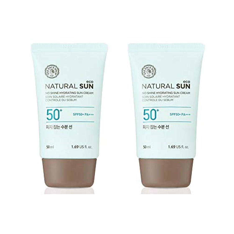 展開する中に超えてザ?フェイスショップネチュロルソンエコフィジーサン?クリームSPF50+PA+++50ml x 2本セット韓国コスメ、The Face Shop Natural Sun Eco No Shine Hydrating Sun...
