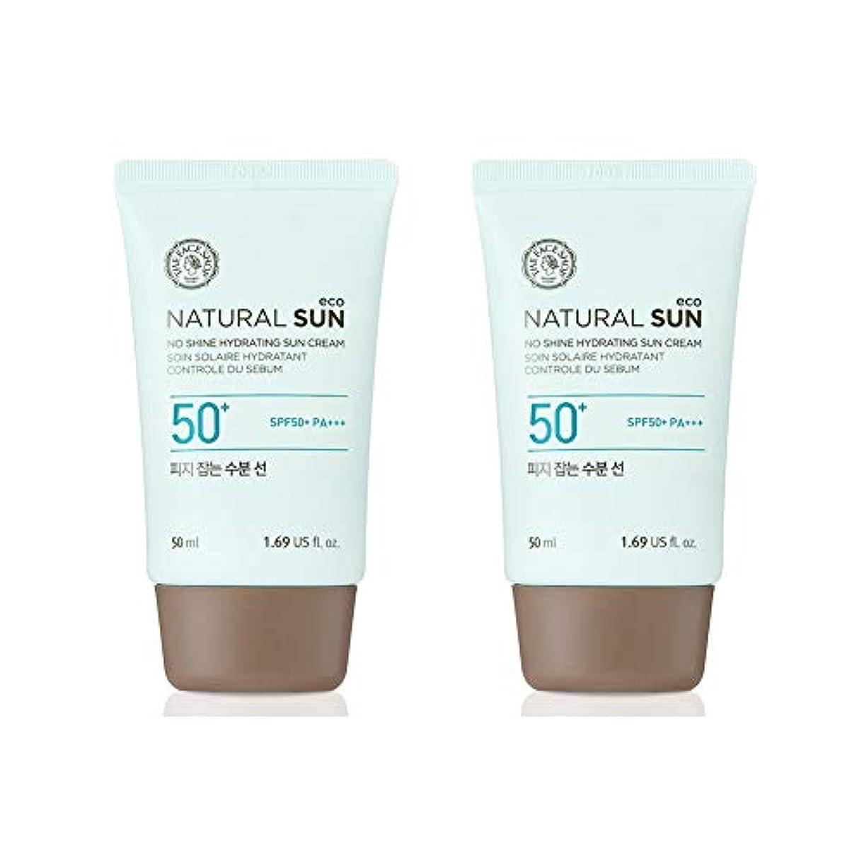 飲み込む無法者好意ザ?フェイスショップネチュロルソンエコフィジーサン?クリームSPF50+PA+++50ml x 2本セット韓国コスメ、The Face Shop Natural Sun Eco No Shine Hydrating Sun...