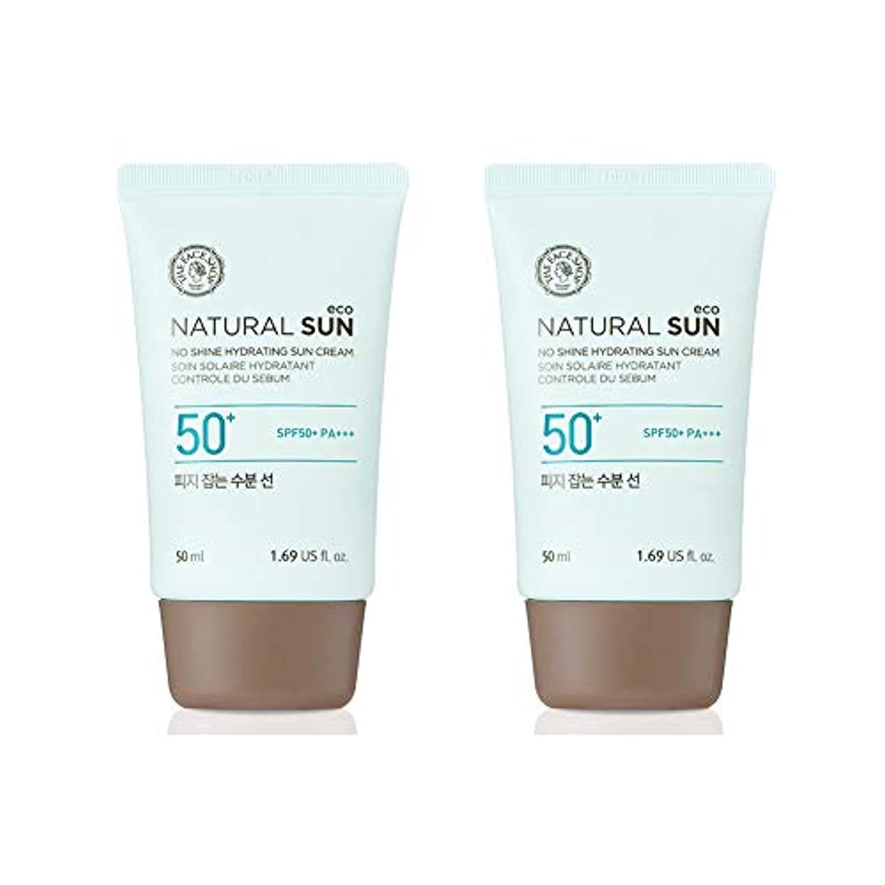 土曜日テーマ状態ザ?フェイスショップネチュロルソンエコフィジーサン?クリームSPF50+PA+++50ml x 2本セット韓国コスメ、The Face Shop Natural Sun Eco No Shine Hydrating Sun...