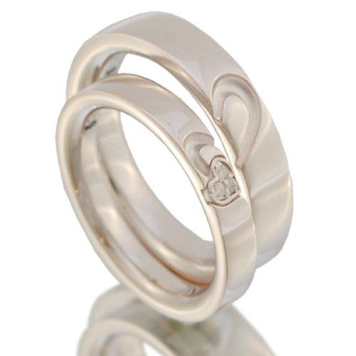 ハートペアリング ダイヤモンド ブルーサファイア 4月 9月 誕生石 シルバー 指輪 pair ring 2個セット 【プラチナカラータイプ】【メンズ20号・レディース20号】