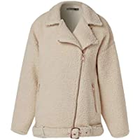 Zaiforee Women Teddy Faux Fur Biker Jacket